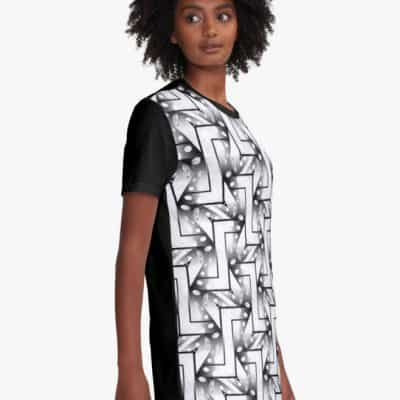 2-Tones Black White Patterns #4 | Graphic T Shirt Dress