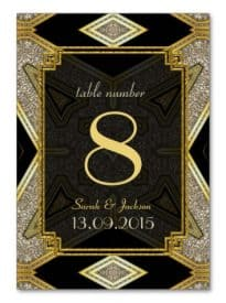 Art Deco Gold Black Wedding Table Number Card by AlternativeWeddings