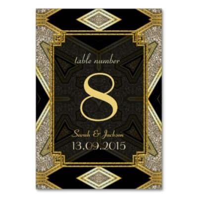 Art Deco Gold Black Wedding Table Number Card by AlternativeWeddings