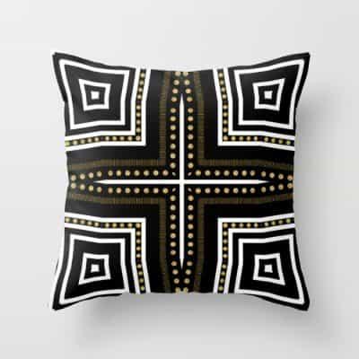 Black White + Gold Cushion   S6