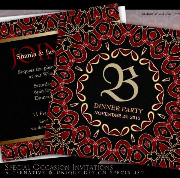 Exotic Red Gold Dinner Party Stylish Invitation by Webgrrl | Paperstation Zazzle