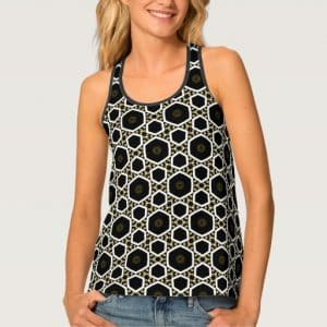 funky_hexagon_black_white_gold_pattern_fashion_tank_top