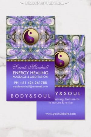 Purple Angelic Energy Healing Holistic New Age Business Card by onlinecards