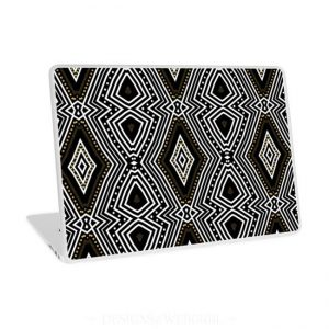 tribal-diamond-black-white-gold-laptop-skins