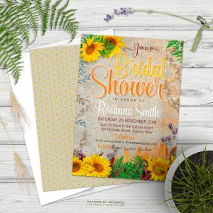 Vintage Summer Sunflowers Bridal Shower Invitation | designs by Webgrrl
