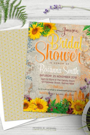 Vintage Summer Sunflowers Bridal Shower Invitation   designs by Webgrrl