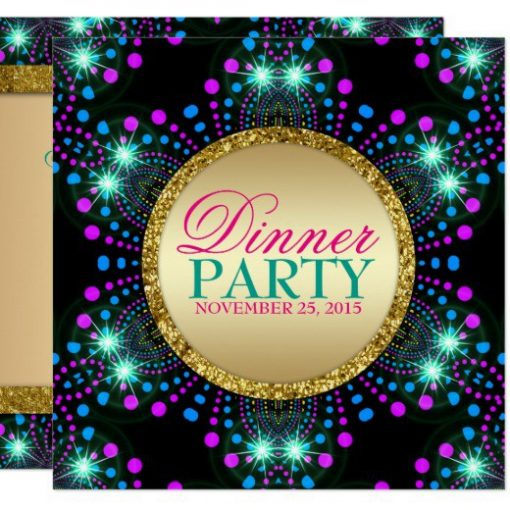 Blacklight Sparkle Magical Dinner Party Invitation