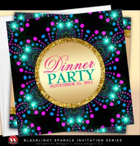 Blacklight Sparkle Magical Dinner Party Invitations