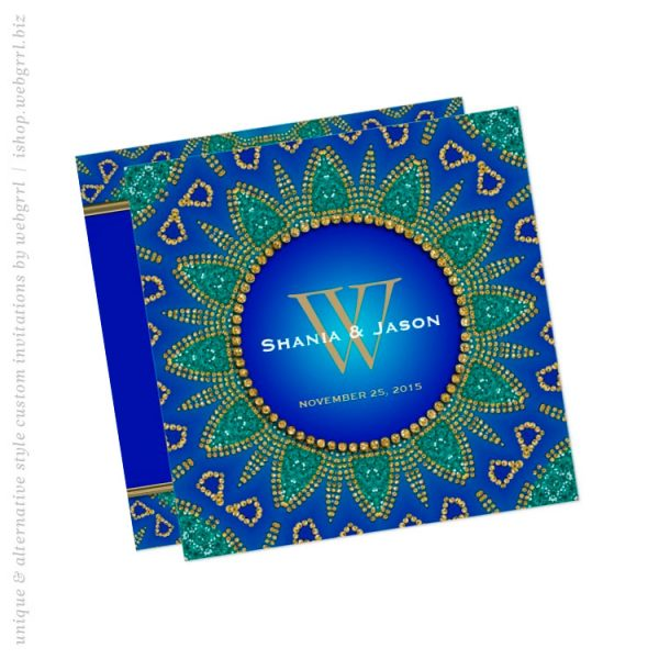 Egyptian Sun Sparkle Teal Gold Monogram Invitation (back view)