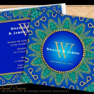 egyptian_sun_sparkle_teal_gold_monogram_invitation
