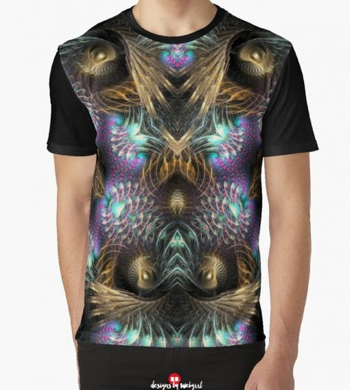 Fractotem - Fractals Scifi Shell Swirls Graphic T Shirt by Webgrrl
