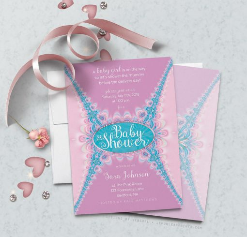 Pink Ruffles Lace-look design Girl Baby Shower Invitation