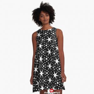 starry-night-black-white-patterns-3-aline-dress-webgrrl-1