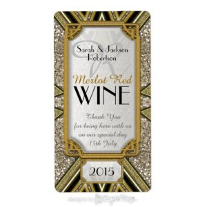 Wine Bottle Labels | Gold+Taupe+Black Art Deco v4