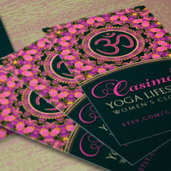Pink Purple OM Mandala Yoga Business Card template by Webgrrl