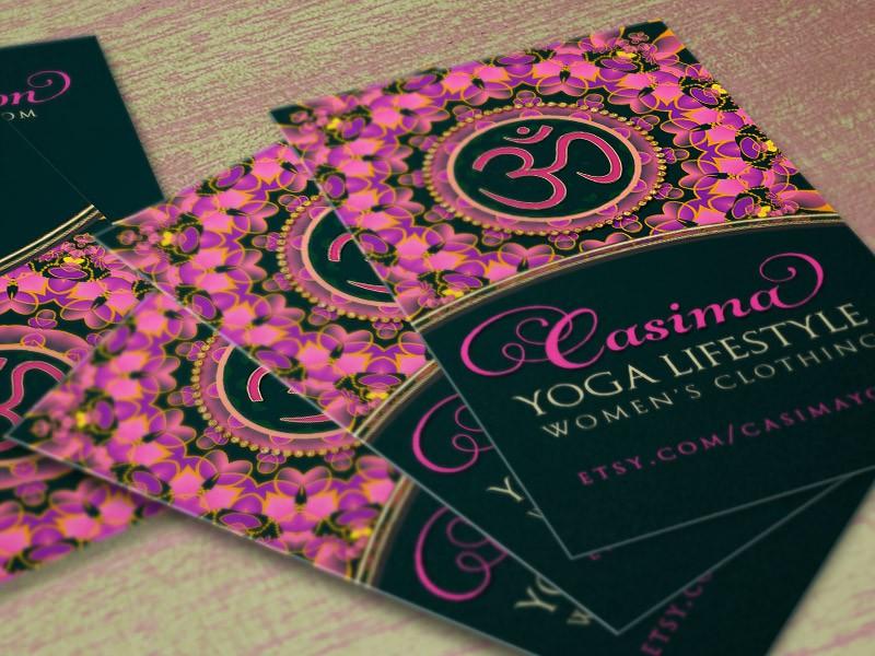 Pink Purple OM Mandala Yoga Business Card template by Webgrrl