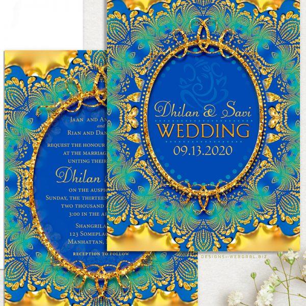 Glitter Gold & Blue Ganesha Indian Wedding Invitation | Webgrrl at Lemonleafprints