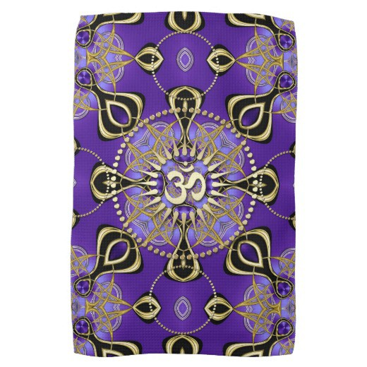 Gold OM Purple Goa Skies New Age Home Decor Kitchen Towels