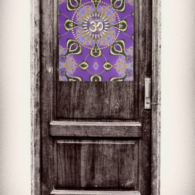 Gold OM Purple Goa Skies New Age Home Decor Kitchen Towel pinned on door