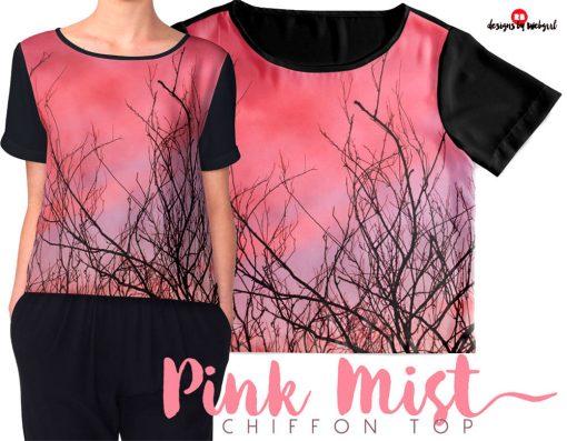 Pink Mist Clouds Nature Short sleeve Chiffon Tops | by webgrrl