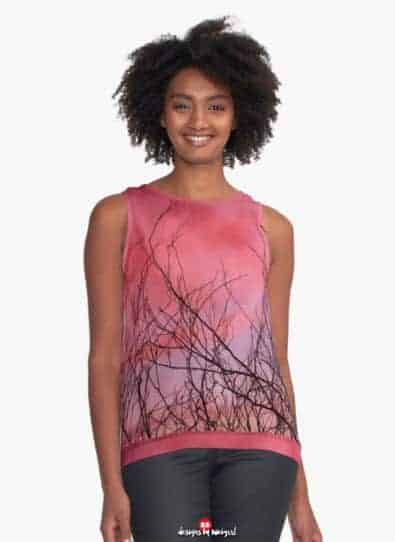 Pink Mist Clouds Nature Sleeves Top | by webgrrl
