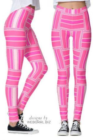 Funky Hot Pink Stripe Leggings   Webgrrl