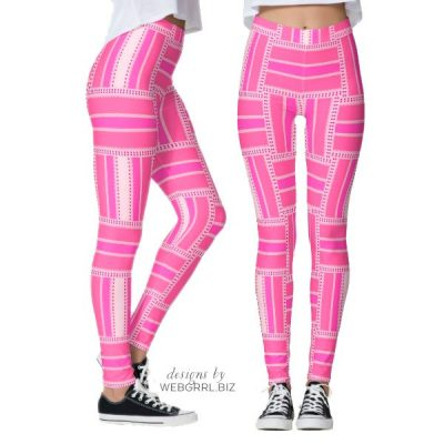 Funky Hot Pink Stripe Leggings | Webgrrl