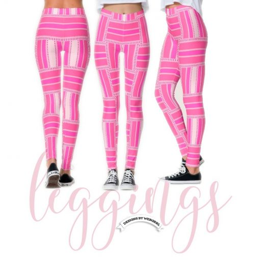 Funky Hot Pink Stripe Pattern Leggings   Webgrrl