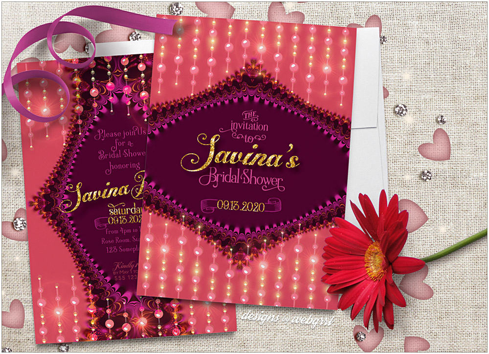 Unique and gorgeous sparkly fractal lace bridal shower invitation design in coral pink and purple berry colors.