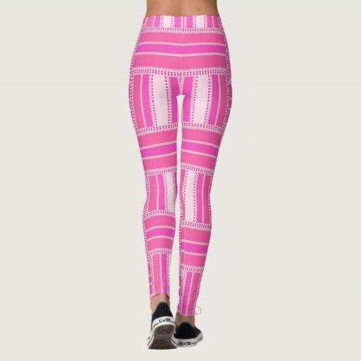 Back view - Funky Hot Pink Stripe Leggings   Webgrrl
