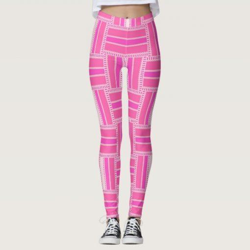 Front view - Funky Hot Pink Stripe Leggings   Webgrrl