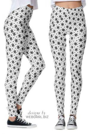 Noir Starry Stars Pattern Leggings