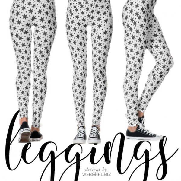 Noir Starry Stars Pattern Leggings