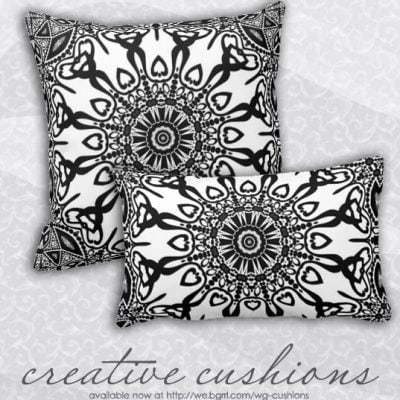 Abenaki Tribal Black White Pattern Cushion Pillow by webgrrl