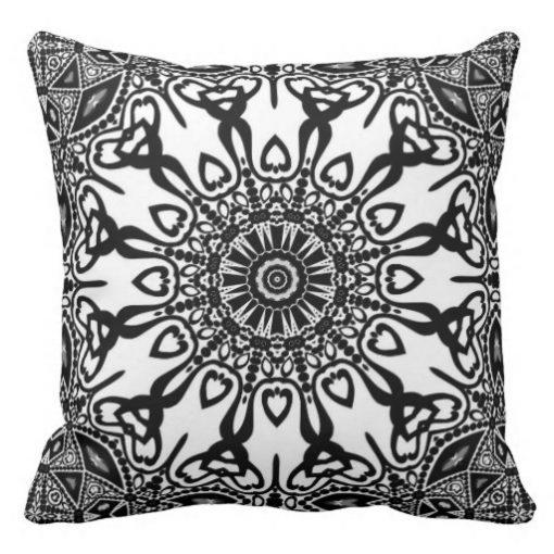 Abenaki Tribal Black White Pattern Cushion Pillow by webgrrl