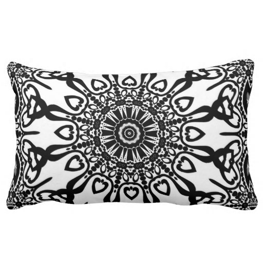 Abenaki Tribal Black White Pattern Lumbar Pillow by webgrrl