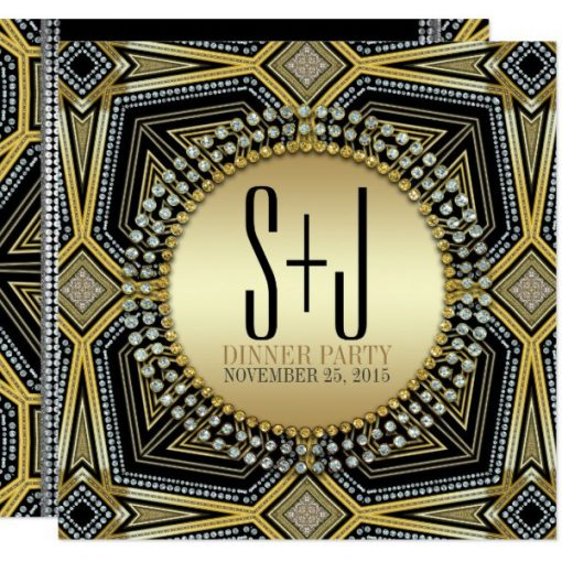 Art Deco Geometric Gold Dinner Party Invites