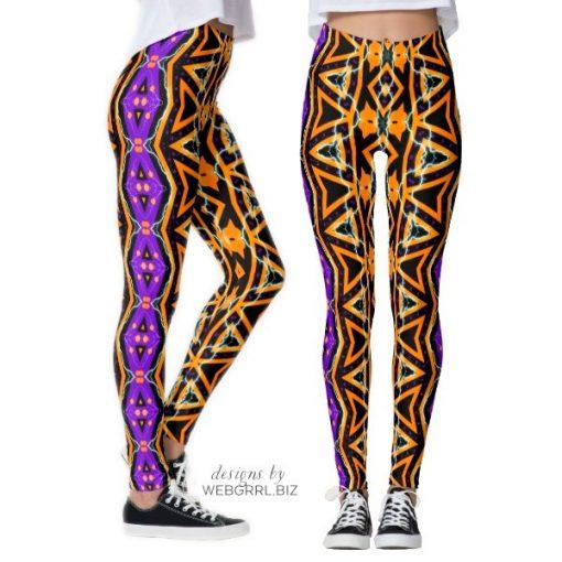Electric Halloween Tribal Purple Orange Leggings