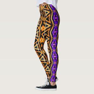 Electric Halloween Tribal Purple Orange Leggings by Webgrrl