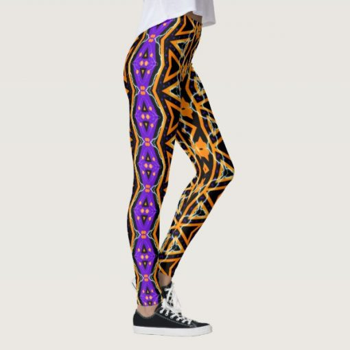 Electric Halloween Tribal Purple Orange Leggings by Webgrrl