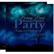 Midnight Blue Halloween Nightsky Invitation