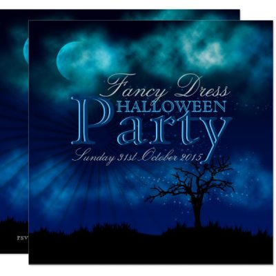 Midnight Blue Halloween Nightsky Invitation
