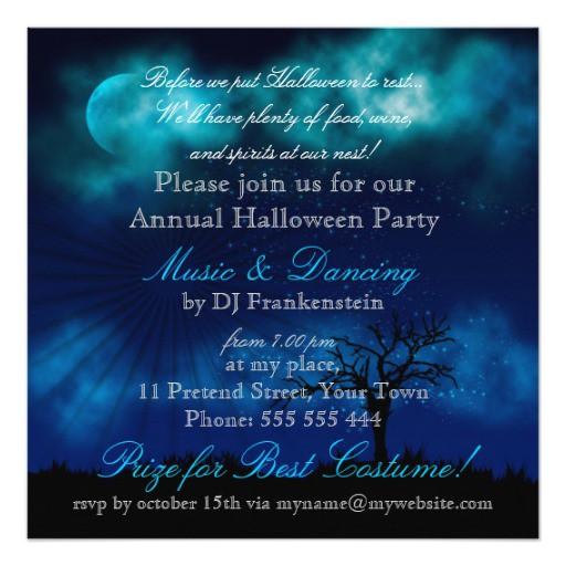 Halloween Invitation Midnight Blue Nightsky