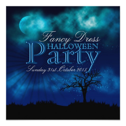 Halloween Invitation Midnight Blue Nightsky (front view)