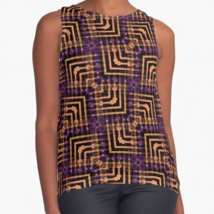 Orange Purple Pattern Hallow-One Contrast Tanks