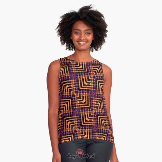 Orange Purple Pattern Hallow-One Contrast Tanks