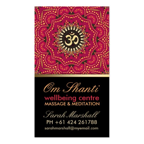 Red+Gold Om Shanti Yoga Wellbeing customizable Business Card