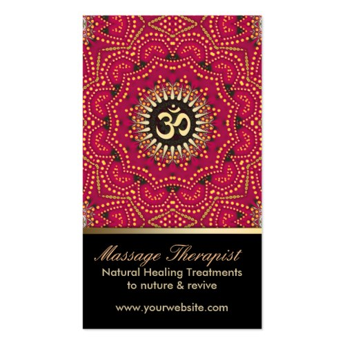 Red+Gold Om Shanti Yoga Wellbeing Business Card | Webgrrl
