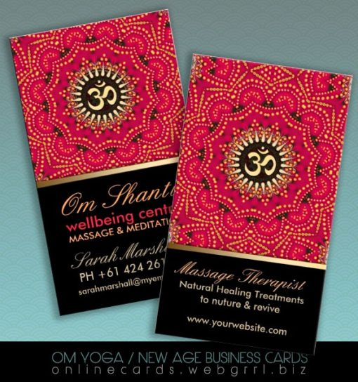 Red+Gold Om Shanti Yoga Wellbeing Business Card