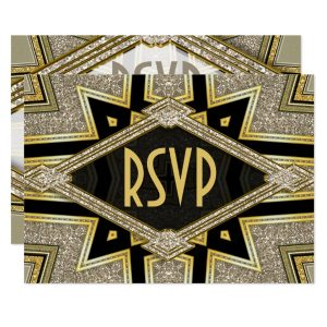 Art Deco Goldy Diamonds Wedding RSVP Cards by AlternativeWeddings